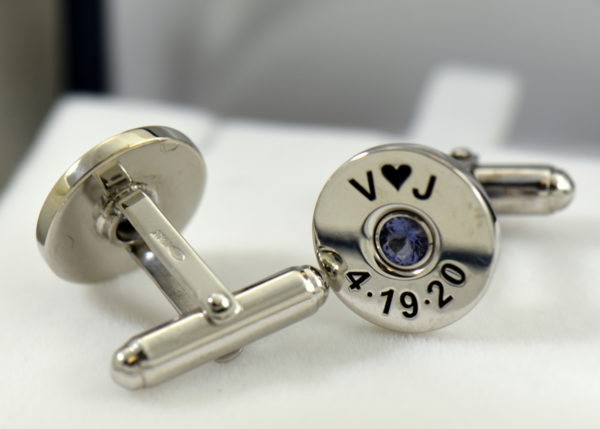 Johns shotgun cufflinks and tiebar with iolite 3.JPG