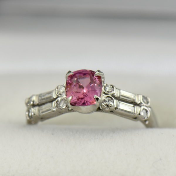 Mid Century platinum ring with Padparadscha Sapphire.JPG