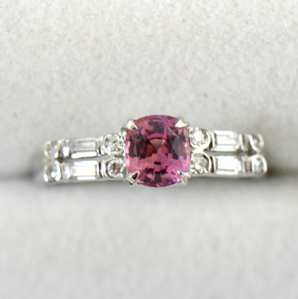 Mid Century platinum ring with Padparadscha Sapphire 2.JPG