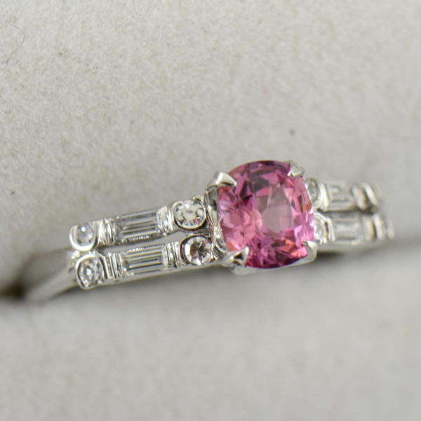 Mid Century platinum ring with Padparadscha Sapphire 3.JPG