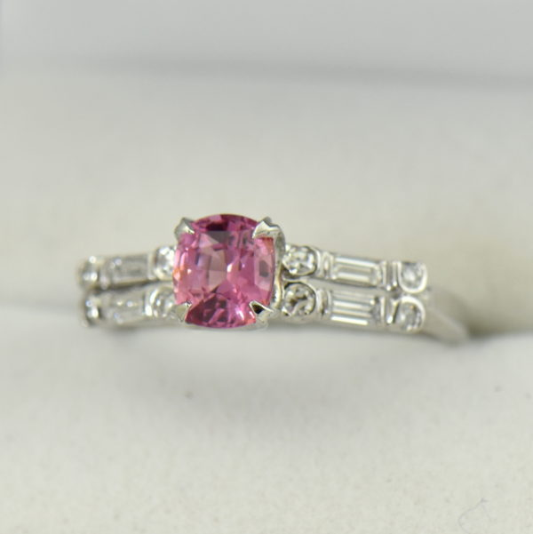 Mid Century platinum ring with Padparadscha Sapphire 6.JPG