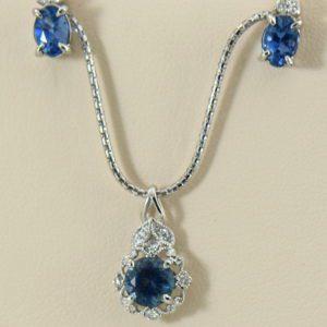 Santa Maria Deep Blue Aquamarine Pendant  Earring Set.JPG