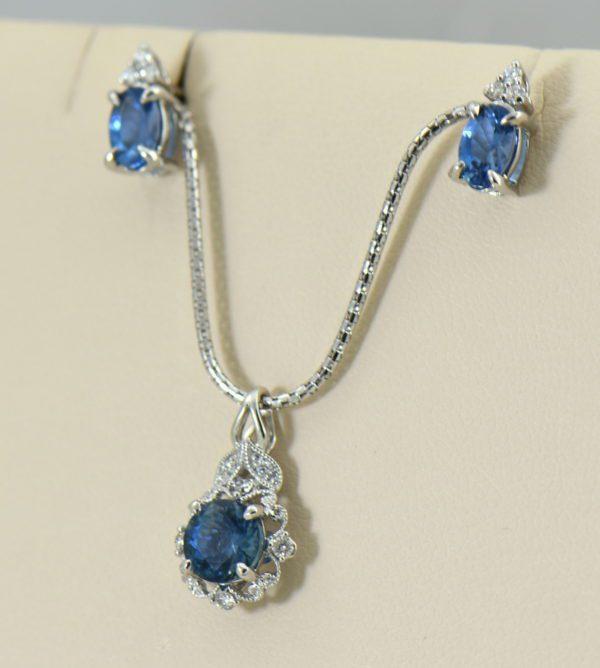 Santa Maria Deep Blue Aquamarine Pendant  Earring Set 2.JPG