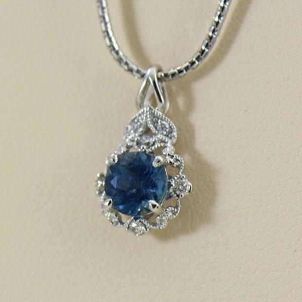 Santa Maria Deep Blue Aquamarine Pendant  Earring Set 3.JPG