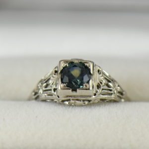 Teal Montana Sapphire Art Deco Engagement Ring.JPG