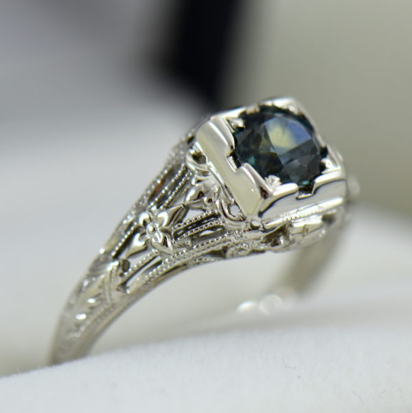 Teal Montana Sapphire Art Deco Engagement Ring 3.JPG