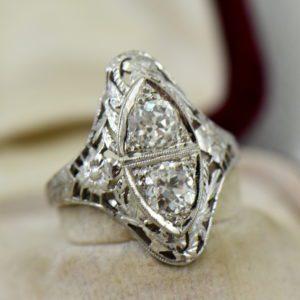 Art Deco Diamond 2 Stone Filigree Dinner Ring 3.JPG