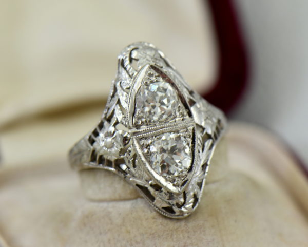 Art Deco Diamond 2 Stone Filigree Dinner Ring 3.JPG