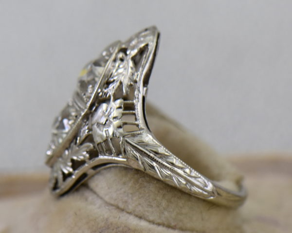 Art Deco Diamond 2 Stone Filigree Dinner Ring 4.JPG