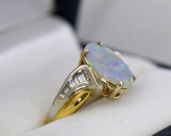Custom Australian Opal Diamond Ring Platinum 18k 2.JPG