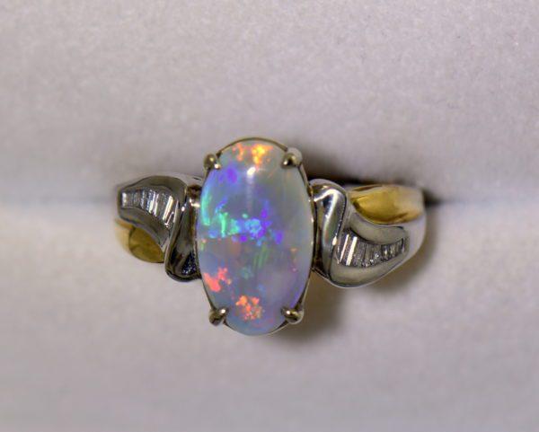 Custom Australian Opal Diamond Ring Platinum 18k 3.JPG