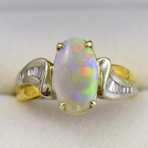 Custom Australian Opal Diamond Ring Platinum 18k 4.JPG