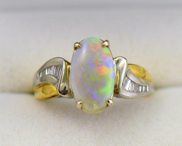 Custom Australian Opal Diamond Ring Platinum 18k 4.JPG