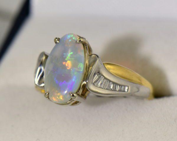 Custom Australian Opal Diamond Ring Platinum 18k 5.JPG