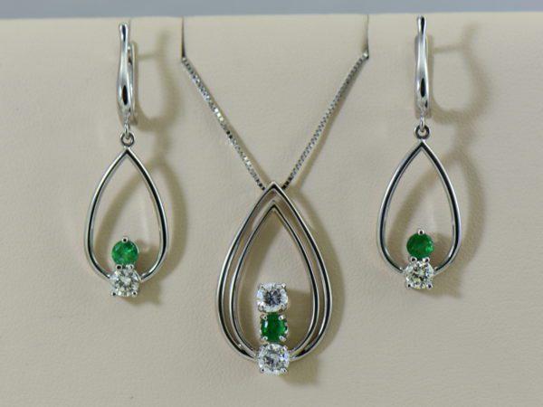 Emerald Diamond Pendant Earring Set Heirloom Remounts.JPG