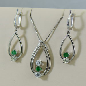 Emerald Diamond Pendant Earring Set Heirloom Remounts 2.JPG