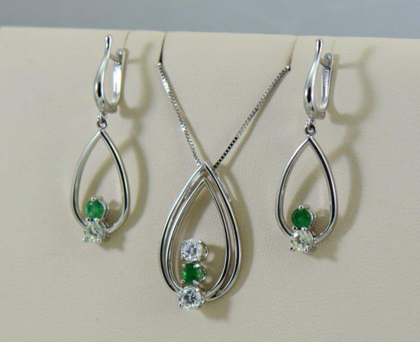 Emerald Diamond Pendant Earring Set Heirloom Remounts 2.JPG