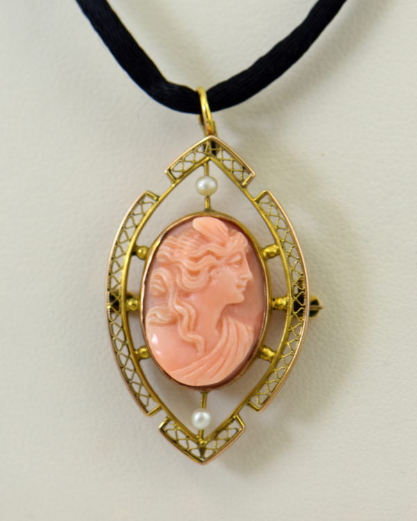 Carved Coral Cameo Pin pendant in Filigree.JPG