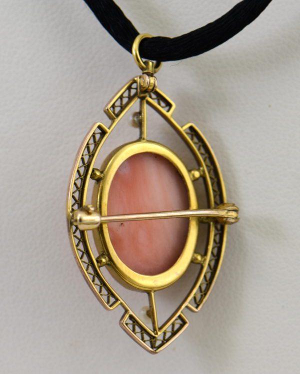 Carved Coral Cameo Pin pendant in Filigree 3.JPG