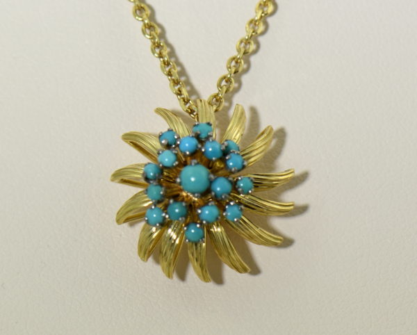Mid Century Turquoise Gold Starburst pendant.JPG