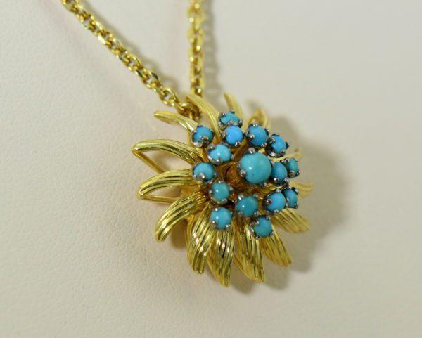 Mid Century Turquoise Gold Starburst pendant 2.JPG