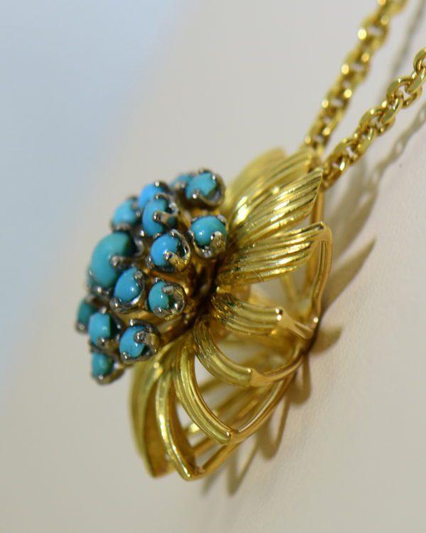Mid Century Turquoise Gold Starburst pendant 3.JPG