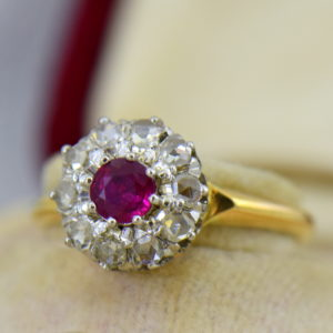 Victorian Ruby Rose Cut Diamond Halo Ring.JPG Copy