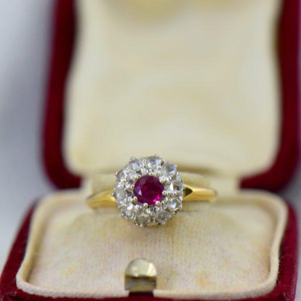 Victorian Ruby Rose Cut Diamond Halo Ring 2.JPG Copy