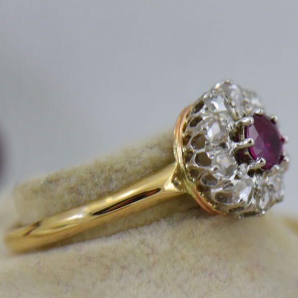 Victorian Ruby Rose Cut Diamond Halo Ring 3.JPG