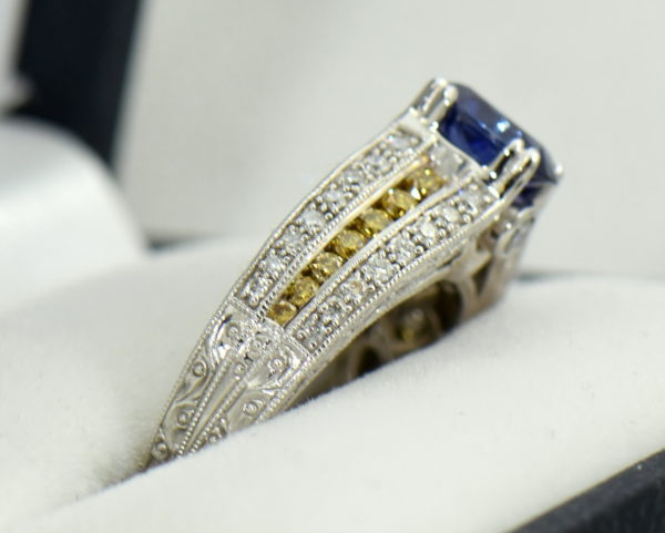 Violet Color Change Sapphire Ring with White Yellow Diamonds 2.JPG