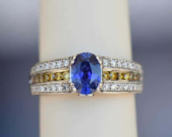 Violet Color Change Sapphire Ring with White Yellow Diamonds 6.JPG