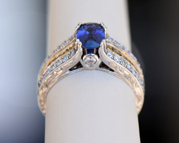 Violet Color Change Sapphire Ring with White Yellow Diamonds 7.JPG