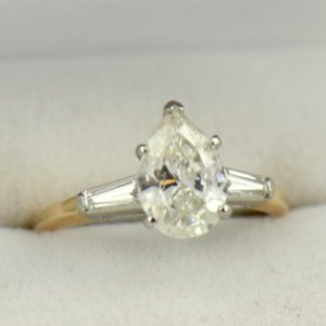 1.67ct Pear Diamond Three Stone Ring in Yellow Gold.JPG