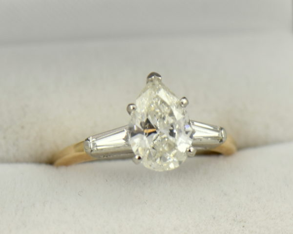 1.67ct Pear Diamond Three Stone Ring in Yellow Gold.JPG
