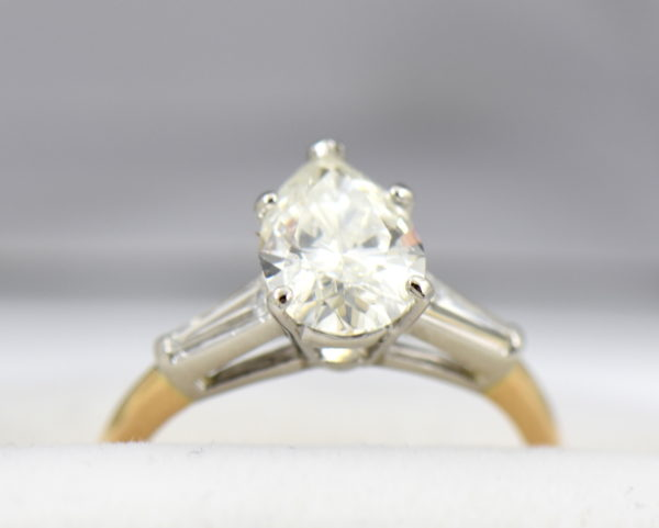 1.67ct Pear Diamond Three Stone Ring in Yellow Gold 2.JPG