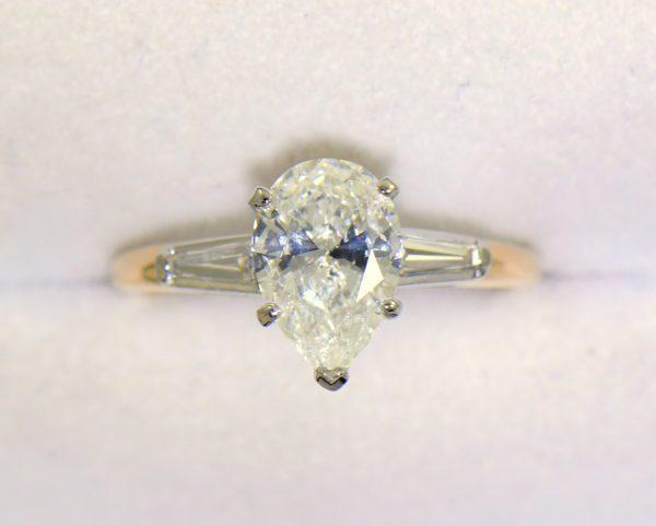 1.67ct Pear Diamond Three Stone Ring in Yellow Gold 4.JPG