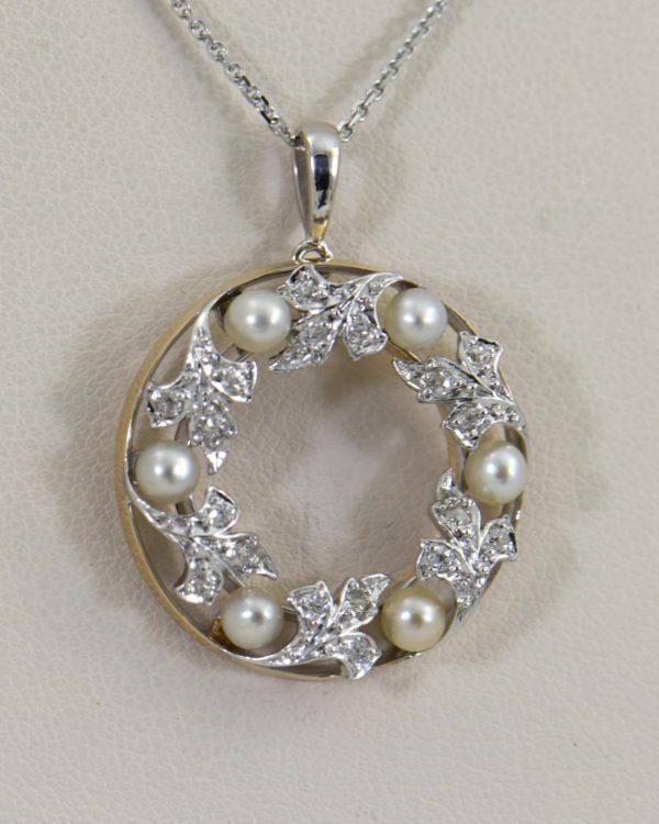 Edwardian Plat over Gold Diamond Pearl Wreath pendant.JPG