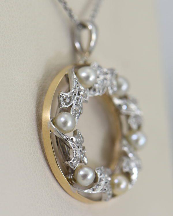 Edwardian Plat over Gold Diamond Pearl Wreath pendant 2.JPG