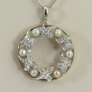 Edwardian Plat over Gold Diamond Pearl Wreath pendant 3.JPG