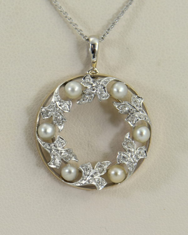 Edwardian Plat over Gold Diamond Pearl Wreath pendant 3.JPG