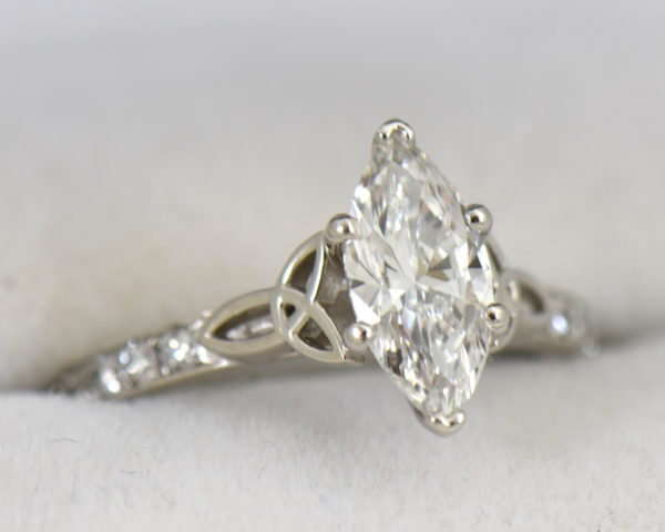 GIA 1.15ct F VS2 Marquise Diamond Ring in platinum with celtic details.JPG