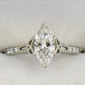 GIA 1.15ct F VS2 Marquise Diamond Ring in platinum with celtic details 3.JPG