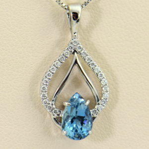 Nigerian Dark Aquamarine Diamond Pear Shape Pendant 2.JPG