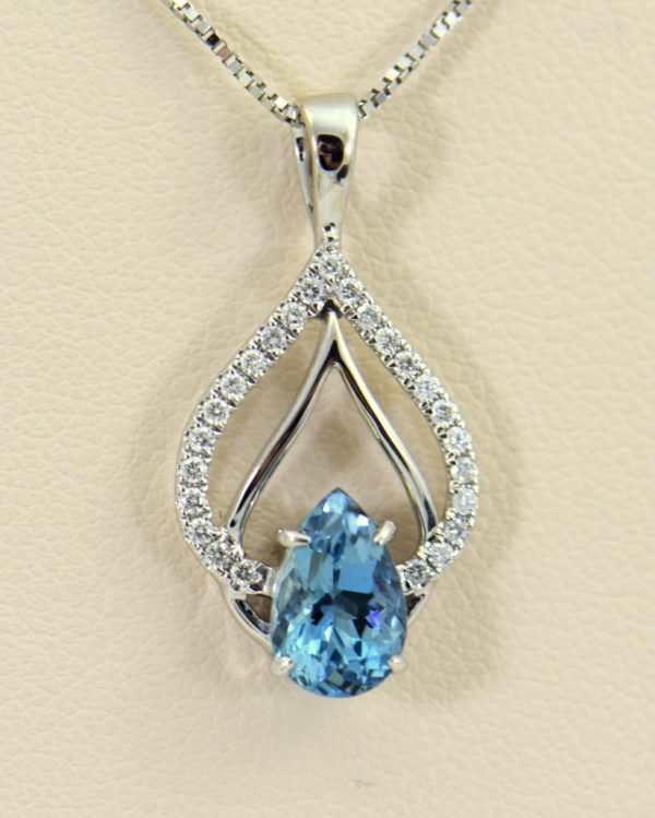 Nigerian Dark Aquamarine Diamond Pear Shape Pendant 2.JPG
