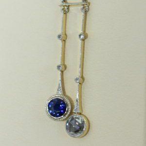 Unheated Blue Sapphire Rose Cut Diamond Neglegee circa 1900.JPG