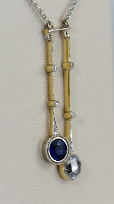 Unheated Blue Sapphire Rose Cut Diamond Neglegee circa 1900 4.JPG