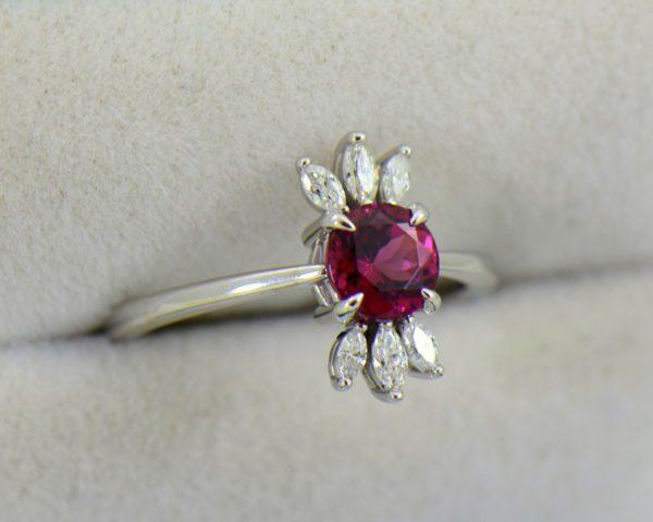 Round Rhodolite Marquise Diamond modern right hand ring.JPG