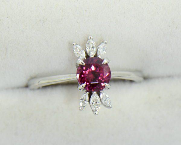 Round Rhodolite Marquise Diamond modern right hand ring 2.JPG