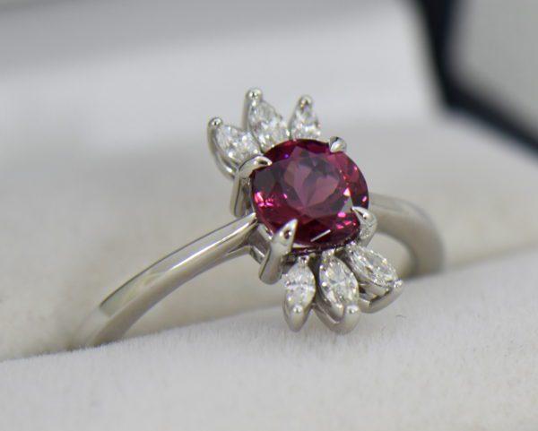 Round Rhodolite Marquise Diamond modern right hand ring 3.JPG