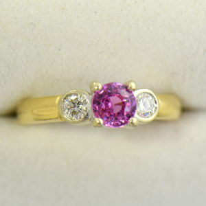 Round pink sapphire bezel diamond three stone ring 2.JPG